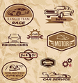 racing cars vintage labels vector image