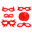 Red Halloween Mask Set vector image