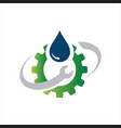 sanitary logo symbol icon pipe and drop water vector image vector image
