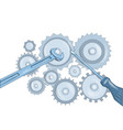 screwdriver and wrench and gears vector image vector image