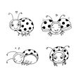 set ladybugs hand drawing isolated objects vector image vector image