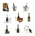 set of bottles with closed and opened champagne vector image