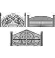 set of wrought iron gates and gates made of metal vector image vector image