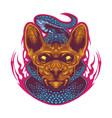 sphynx cat head esport mascot logo with snake vector image vector image