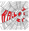 spider web with red word halloween vector image vector image