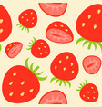strawberries seamless pattern flat design summer vector image