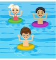 three cute little kids swimming vector image vector image