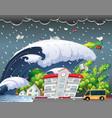 tsunami hit school building vector image