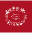 white snowflake frame red background xmas vector image vector image