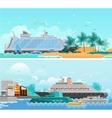 Cruise Vacation Flat Horizontal Banners Set vector image