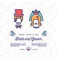 bride and groom icons wedding invitation retro vector image