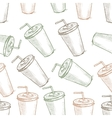Seamless pattern scetch of three types cola cup vector image