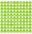 100 web and mobile icons set green circle vector image vector image