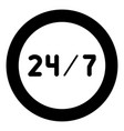 247 service icon black color in circle or round vector image