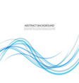 abstract background blue waved lines for vector image vector image