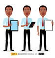 african smiling business cartoon man with tablet vector image