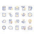 approve line icons set of check list certificate vector image