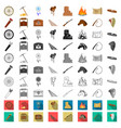 attributes of the wild west cartoon icons in set vector image