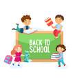 back to school concept happy students children vector image vector image
