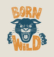 born wild head panther on grunge background vector image vector image