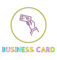 business card bright linear round icon template vector image