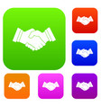 business handshake set color collection vector image vector image