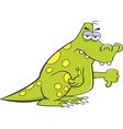 Cartoon angry dinosaur giving thumbs down vector image vector image