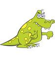 Cartoon angry dinosaur giving thumbs down vector image