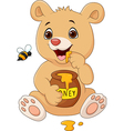 Cartoon funny baby bear holding honey pot isolated vector image vector image