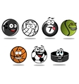 Cartoon hockey puck and sporting balls mascots vector image vector image