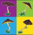 cartoon seasonal mushroom with brown cap vector image vector image