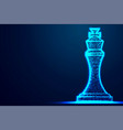 chess king wireframe polygon blue frame structure vector image vector image