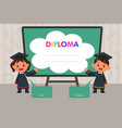 children with diploma template vector image