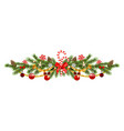 christmas pine and ribbon vector image vector image