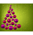 Christmas tree with magenta christmas balls vector image vector image