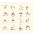cup hot drink coffee tea etc big set vector image vector image
