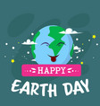 cute earth day greeting card with cute cartoon vector image vector image