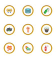 demonstration icons set cartoon style vector image vector image