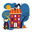 dracula costume and house halloween holiday vector image