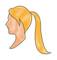 drawing blonde head profile young woman vector image
