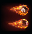 flying black billiard eight ball in fire vector image vector image