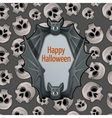 Halloween card with bat and skulls vector image