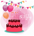 happy birthday poster background with cake vector image vector image