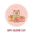 happy valentines day teddy bear vector image