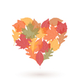 heart with autumn leaves vector image