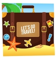 Journey suitcase on the beach vector image vector image