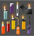 lighter cigarette-lighter with fire or vector image vector image