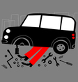mechanic and broken car vector image vector image