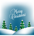 merry christmas background with hills and evergree vector image