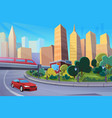 modern highway cartoon cityscape flat vector image